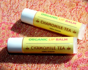 Two (2) Vegan Lip Balm, Chamomile, Lip Balm, Organic Lip Balm, Vegan Chapstick, Shea Butter Lip Balm, Natural Lip Balm, Vegan Gift