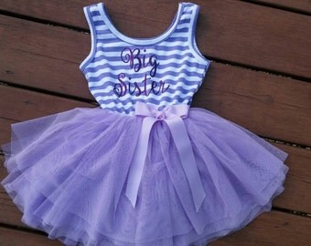 Purple Big Sister Dress attached foofy Tutu skirt