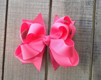"Pink hair bow, girls 4"" hair bow, double bow, stacked hair bow, hot pink hairbow, fluffy hair bow, girls hair bow, boutique bow"