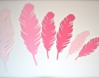 6 Pieces Pink Laser Cut Paper Feather.