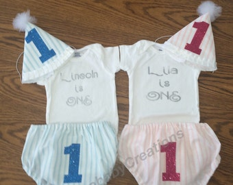 Twin first birthday set