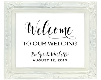 Custom Wedding Welcome Sign, Welcome To Our Wedding Sign with Bride & Groom's names and wedding date, Personalized Digital Sign, Printable