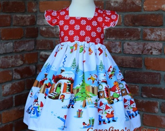 Christmas Gnome dress ready to ship size 2