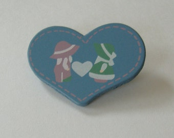 Blue Heart Lapel Pin, Heart Shaped Pin, Country Themed Pin, Pink Green Hats On Pin, Wooden Heart Pin