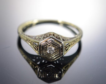 14K Antique 0.10 Ct Old Mine Cut Diamond Filigree Engagement Ring Size 6.25 White Gold
