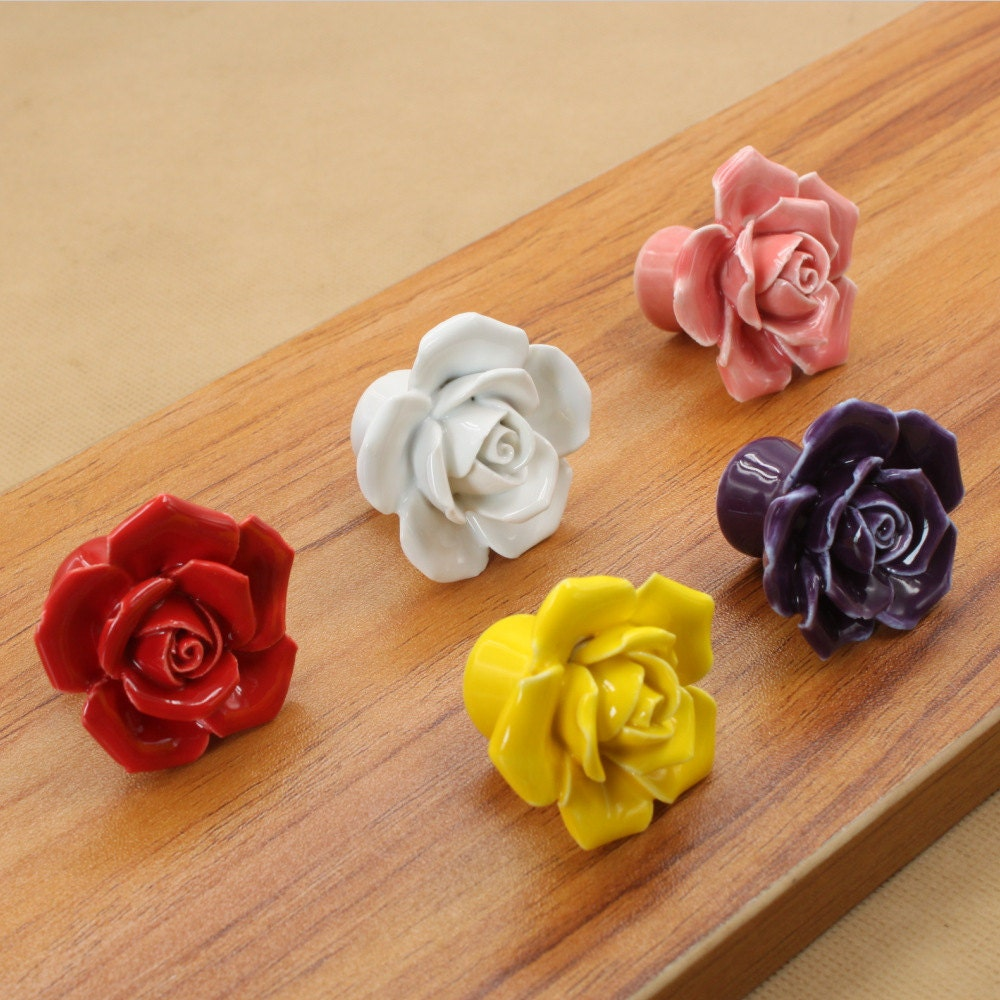 Rose knobs ceramic knobs dresser knobs pulls handles - Bouton de meuble design ...