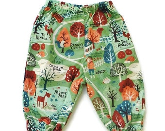 Clothing for babies, Unisex baby clothes, sizes 3,6,12,18 months, Harem pants, Organic cotton pants