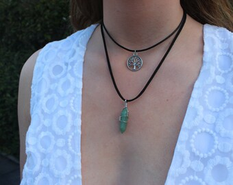 Tree of Life & Green Aventurine Wire Wrapped Crystal Set