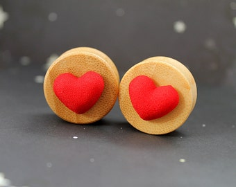 "Red hearts bamboo  plugs 24mm 15/16""  gauges stretched ears cute love"