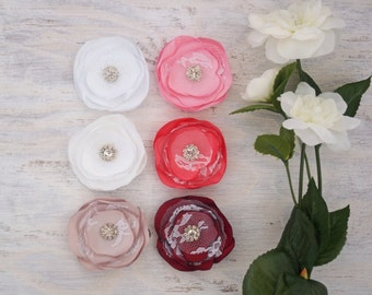 Satin Lace Flower Clip Or Headband, Pick A Colour