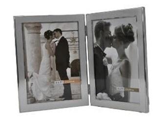 Personalised Wedding Brushed and Shiny 5x 7 Double Frame