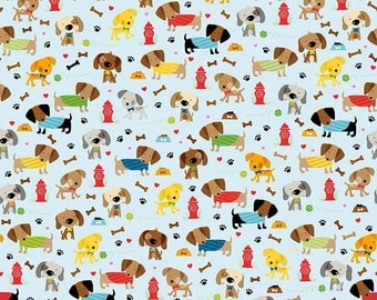 Rover Dog Park Modern 100% Cotton Quilting Fabric, Riley Blake, Light Blue, Dogs Pups Puppies Bones Paws multicolor