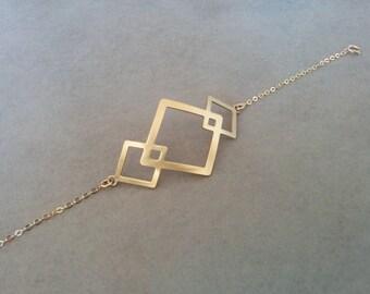 Gold Charm Bracelet, Charm Bracelet, Geometric Charm Bracelet, Gold Diamond, Gold Jewelry, Gift for her, By Hila Assa Jewelry