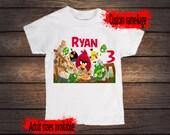Angry Birds Birthday shirt, custom with name and age