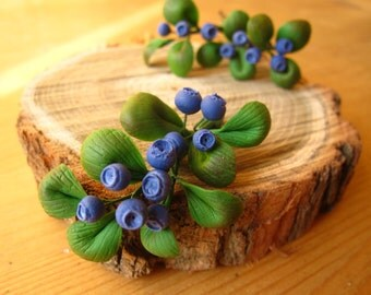 Blueberry brooch - blueberry hairpins - rustic brooch - rustic jewelry - woodland brooch - eco fashion - clay brooch - eco friendly jewelry