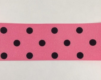 ON SALE 1.5 Inch Hot Pink and Black dippy dots ribbon