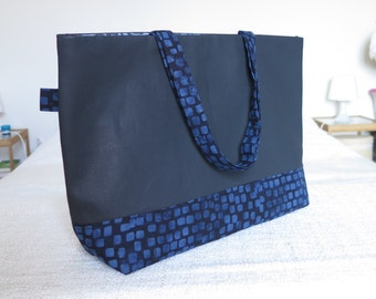 KIWA satchel in jean waxed and fabric Sumara - Format A4, ideal to go work!