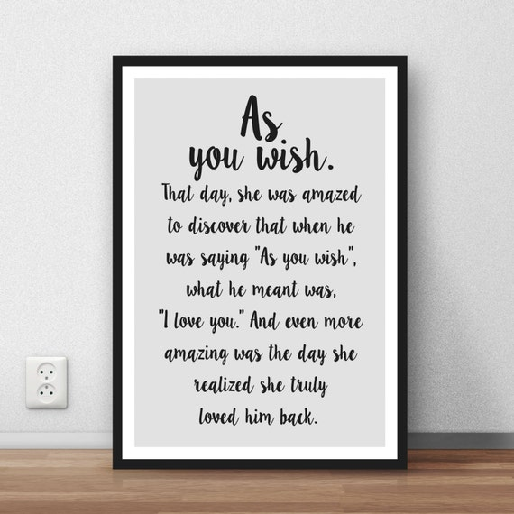Princess Bride Wedding Quote: The Princess Bride Quote As You Wish Great Wall Art Poster
