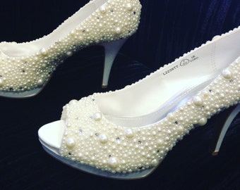 Wedding shoes, pearl wedding shoes, ivory shoes, peep toe heels, custom wedding shoes, high heels