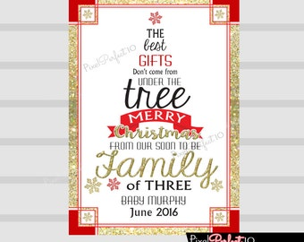 Christmas pregnancy announcement - christmas pregnancy announcement sign,  Pregnancy Reveal - christmas pregnancy announcement card