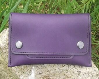 Leather Tobacco pouch, purple  , mi-supple leather