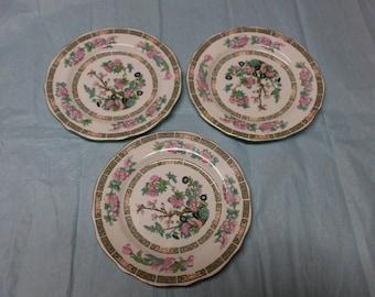 "3 Vintage 7"" Ellijah Cotton Plates Lord Nelson Ware Floral Botanical Motif Staffordshire England"