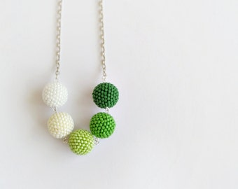 Spring necklace, beadwork necklace, long necklace, beaded ball necklace, seed bead jewelry, fashion necklace, modern jewelry, greenery