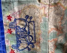 """Printed Linen """"Antique Map of the World"""" Picnic Rug with embroidered vintage car motif 140 x 140 cm"""