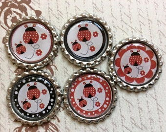 SET of 5 - Ladybug Bottle Caps For Pendants, Hairbows Hair Bow Centers - Ready to use