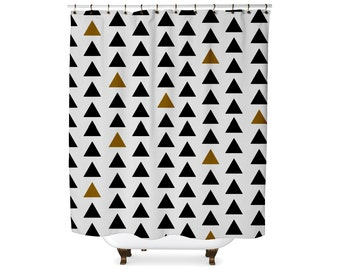 Black and mustard triangle shower curtain