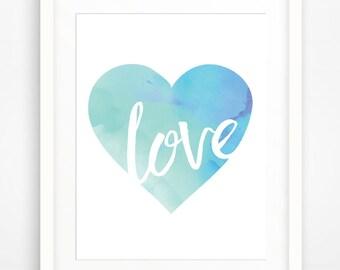 Love. Watercolor Heart. Wall Art. Gallery Wall. Digital Download.