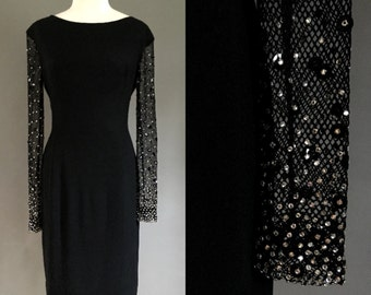 1950's Classic Little Black Wiggle Dress with Rhinestone-Studded Mesh Sleeves