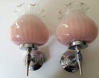 40 % DESTOCK** A pair of Pink WALL LIGHTS  Sixties 1960 Glass and Chrome height 8 inch vintage