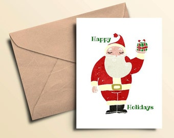 Happy Holiday Santa Seasonal Cards – Boxed Set of 10 With Envelopes