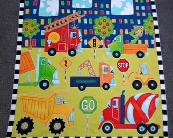 Construction fabric panel. Digger fabric. Vehicles quilt panel. Truck. Fire Truck. Fire engine. Machines. Excavator. Boys nursery fabric.