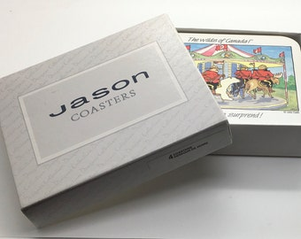 Jason Coasters The Wilds Of Canada Canadian Mounties RCMP Humourous Funny Humor  John Cadiz French English Set of 4 Rectangular D2304
