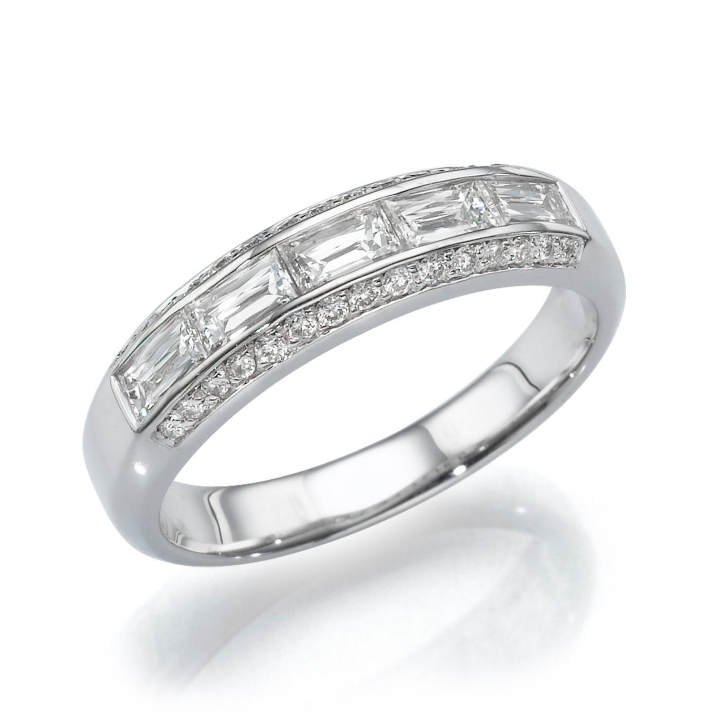 Baguette Wedding Band 102 CT Diamond Ring Band 18K White