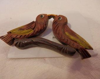 Vintage Wood Hand Carved Lovebirds on Branch Brooch Pin