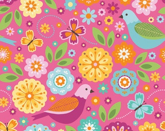 SALE ! > Summer Song 2 by Zoe Pearn > Riley Blake Designs < Fabric by the yard > Baby Flannel < F4620 Pink - Main Birds Butterfly Flowers