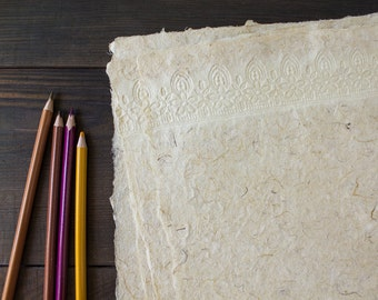 Handmade paper - Decorative paper - Textured paper - Lace paper - Art paper - Collage materials - Eco friendly paper (#21wl)