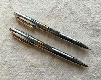 Vintage Chrome Twist Pen & Pencil Set