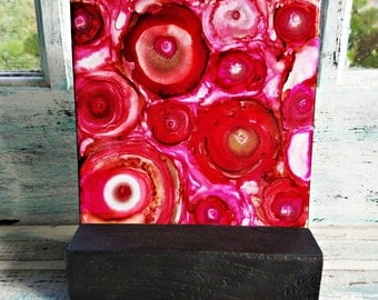 Alcohol Ink, Painting, Tile, Abstract, Reds, Pinks, Whites, Gold