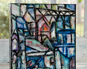 12x12, Mixed Media, Affordable, Cradled Panel, Houses, Collage, Fine Art, Abstract