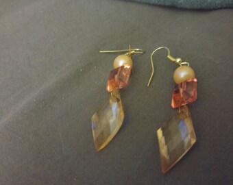 Peach crystal dangling earrings
