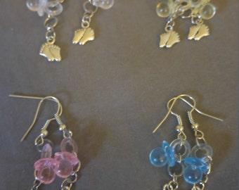 Baby feet pacifier earrings
