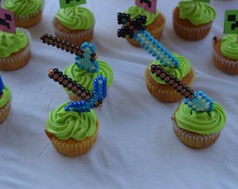 Minecraft inspired Pickaxe, Shovel, Sword, Axer Perler Bead Cup Cake Topper, Pixel Cup Cake topper-Party favor