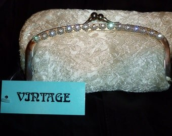 Vintage White Silk Brocade Clutch 1960s With Rhinestone Detail