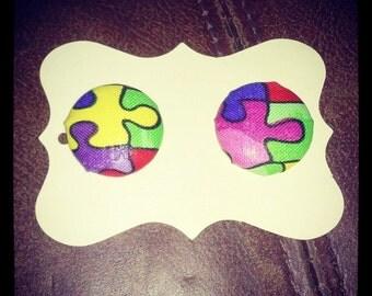 Autism Puzzle Piece Button Earrings