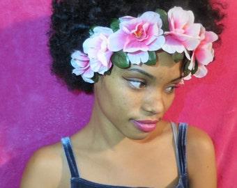 Pink Elastic Hawaiian Flower Headband With Leaves