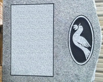 MANY OPTIONS! Cemetery Headstone Georgia Gray Granite Dove Carved Tombstone Headstone Cemetery Grave Marker Serpentine Top with Base